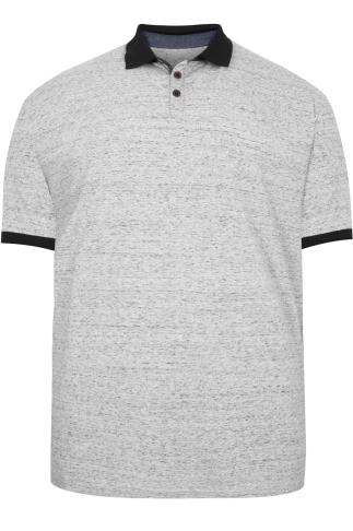 BadRhino Grey & Black Flecked Polo Shirt With Black Trims