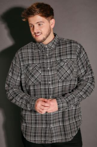 BadRhino Grey Brushed Cotton Check Shirt