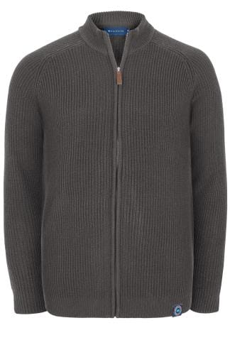 BadRhino Grey Cable Knit Sweater With Funnel Neck