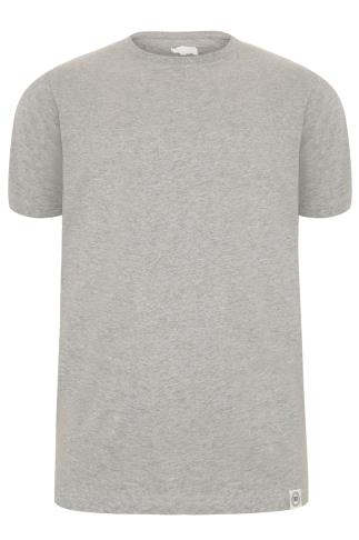 BadRhino Grey Crew Neck Basic T-Shirt - TALL