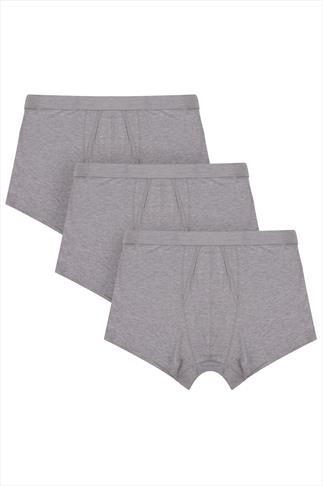 BadRhino Grey Marl A Front Boxer Trunks 3 Pack