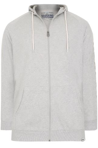 BadRhino Grey Marl Applique Logo Detail Zip Through Hoodie