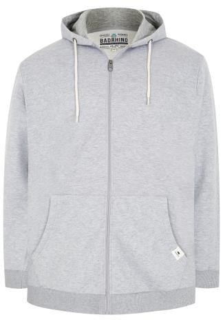 BadRhino Grey Marl Basic Sweat Hoodie With Pockets - TALL