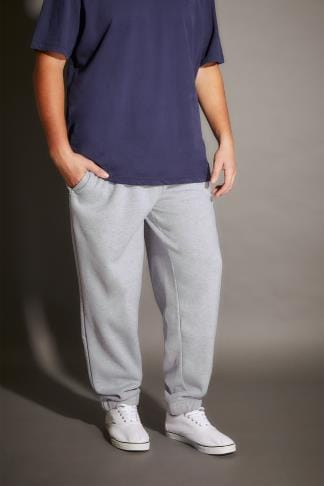 Joggers BadRhino Grey Marl Basic Sweat Joggers With Pockets - TALL 200215