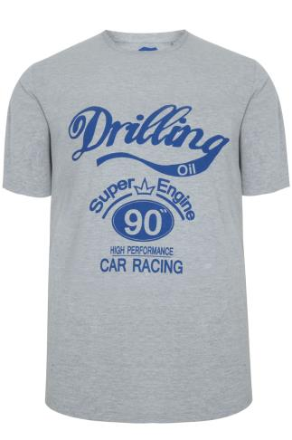 BadRhino Grey Marl & Blue 'Drilling Oil' Print Short Sleeve T-shirt - TALL