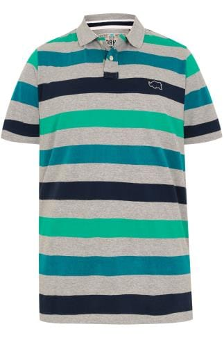BadRhino Grey Marl, Blue & Green Block Stripe Polo Shirt