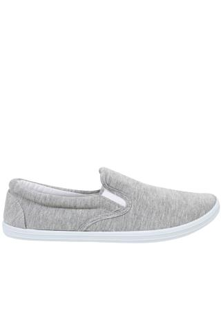 Grey Marl Canvas Slip On Plimsolls
