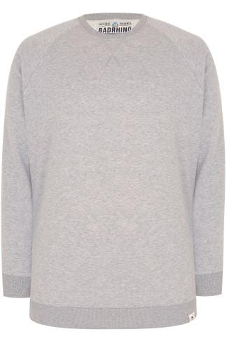 BadRhino Grey Marl Crew Neck Raglan Basic Sweatshirt - TALL
