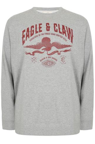 BadRhino Grey Marl Eagle & Claw Heavyweight Printed Vintage Sweatshirt