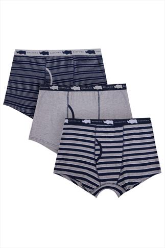 3 PACK BadRhino Grey Marl & Navy Striped Keyhole Boxer Trunks
