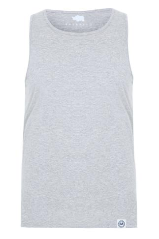 BadRhino Grey Marl Plain Crew Neck Cotton Vest