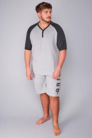 Nightwear BadRhino Grey Marl Raglan T-Shirt and Shorts Loungewear Set 102209