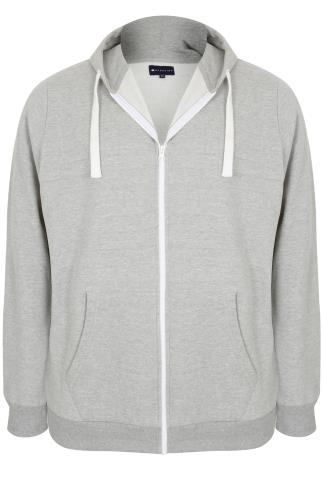 BadRhino Grey Marl Zip Through Hoodie