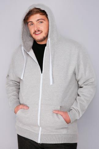 Hoodies BadRhino Grey Marl Zip Through Hoodie 110119