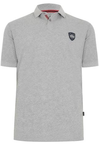 BadRhino Grey Polo Shirt With Chest Badge - TALL