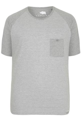 BadRhino Grey & White Stripe T-Shirt With Contrast Raglan Sleeves