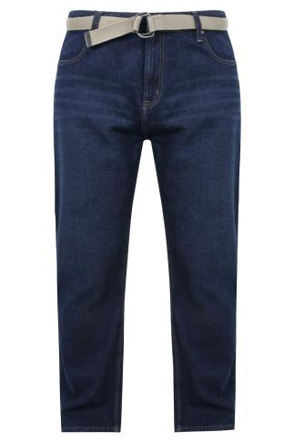 BadRhino Indigo Blue Denim Comfort Jeans With Light Brown Belt - TALL