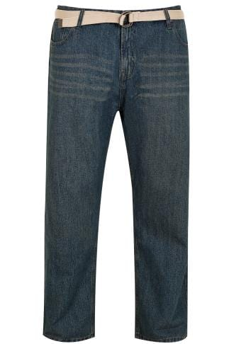 BadRhino Indigo Denim Vintage Wash Straight Leg Jeans With Light Brown Belt - TALL
