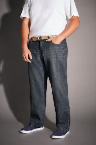 Straight BadRhino Indigo Denim Vintage Wash Straight Leg Jeans With Light Brown Belt - TALL 200257