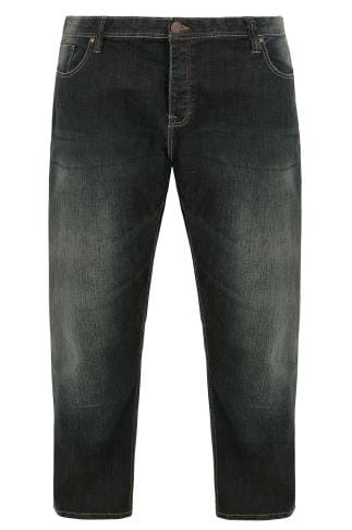 BadRhino Indigo Denim Vintage Wash Tapered Leg Jeans