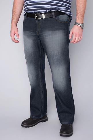 BadRhino Indigo Faded Bootcut Stretch Jeans - TALL