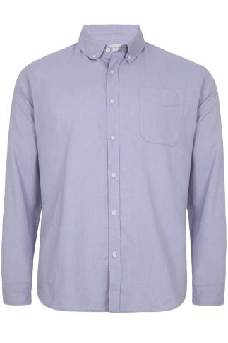 BadRhino Light Blue Cotton Long Sleeved Oxford Shirt - TALL