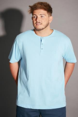 BadRhino Light Blue Marl Short Sleeve Grandad T-Shirt - TALL