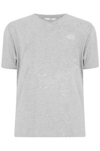 BadRhino Light Grey Marl Basic Plain V-Neck T-Shirt - TALL