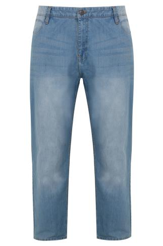 BadRhino Light Wash Denim Tapered Jeans - TALL