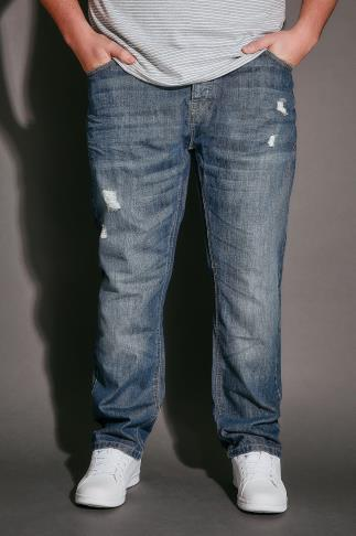 BadRhino Mid Blue Rip & Repair Denim Tapered Jeans - TALL