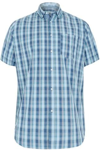 BadRhino Multi Blue Mid Grid Check Short Sleeve Shirt