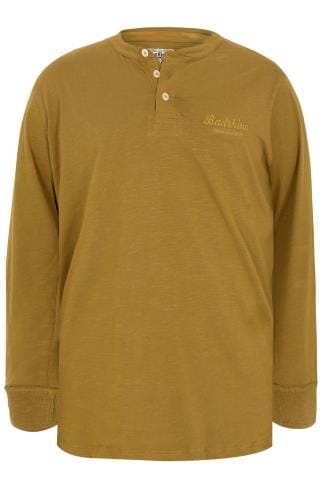 BadRhino Mustard Yellow Long Sleeved Henley Top