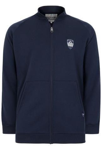 BadRhino Navy Applique Zip Through Sweatshirt