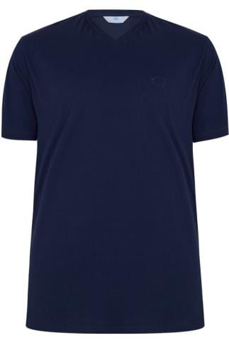 BadRhino Navy Basic Plain V-Neck T-Shirt