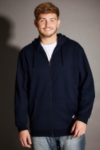 Hoodies BadRhino Navy Basic Sweat Hoodie With Pockets - TALL 200188