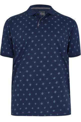 Polo Shirts BadRhino Navy & Blue Compass Print Polo Shirt 200150