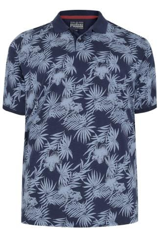 BadRhino Navy & Blue Palm Tree Print Polo Shirt