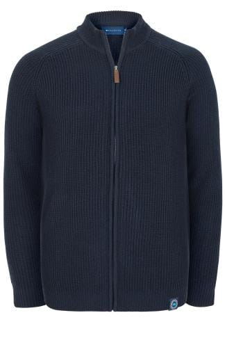 BadRhino Navy Cable Knit Sweater With Funnel Neck