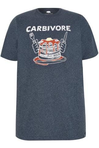 "Tall T-Shirts BadRhino Navy ""Carbivore"" Pancake Print T-Shirt With Crew Neck - TALL 200450"