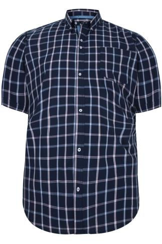 BadRhino Navy Checked Short Sleeved Shirt - TALL