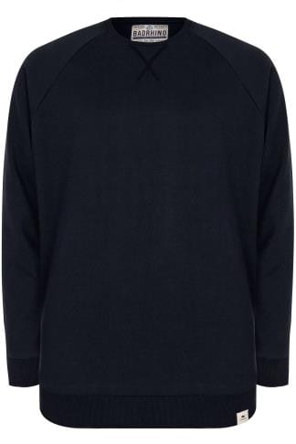 BadRhino Navy Crew Neck Raglan Basic Sweatshirt - TALL