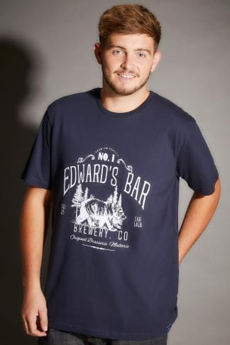 "T-Shirts BadRhino Navy ""Edward's Bar"" Slogan Print T-Shirt - TALL 200069"