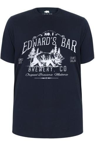 "BadRhino Navy ""Edward's Bar"" Slogan Print T-Shirt - TALL"