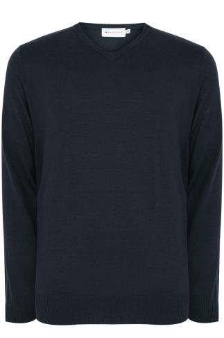 BadRhino Navy Fine Knit V Neck Jumper