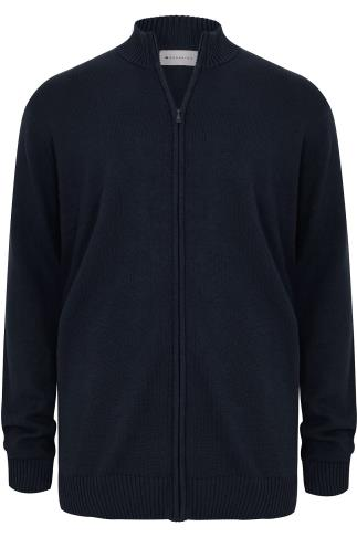 BadRhino Navy Knitted Zip Sweater With Funnel Neck - TALL