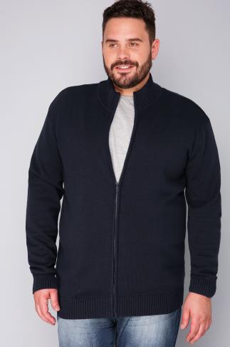 Cardigans BadRhino Navy  Knitted Zip Sweater With Funnel Neck 110096
