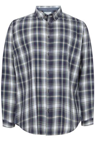 BadRhino Navy & Green Checked Long Sleeved Shirt