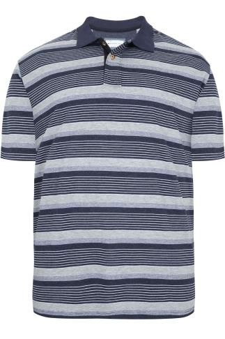 BadRhino Navy & Grey Marl Stripe Polo Shirt