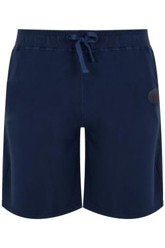 BadRhino Navy Jersey Shorts With Pockets & Logo Detail