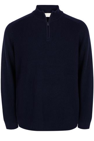 BadRhino Navy Knitted Jumper With Zip Funnel Neck